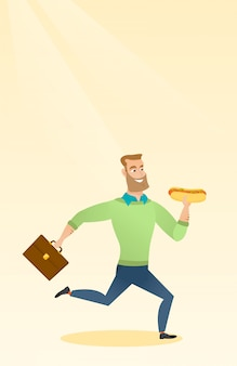 Business man eating hot dog