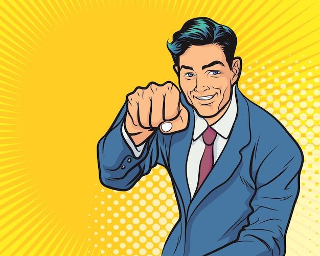 Деловой человек возбужден держать руки поднятыми руками