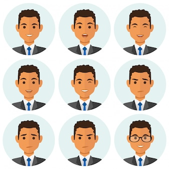 Business man expresions avatars