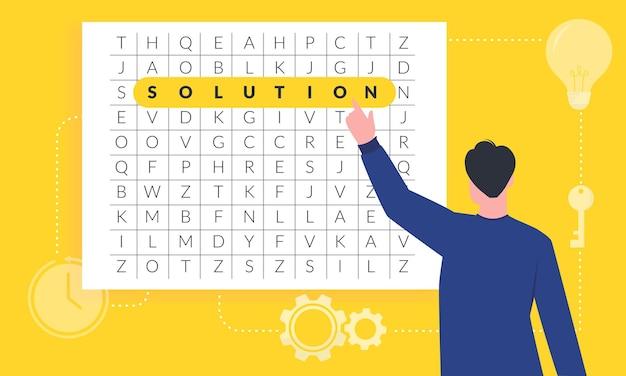 新しいアイデアとソリューションのイラストを見つけるビジネスマン。混乱クロスワードゲームでハイライトされた単語ソリューション。困難な時代に問題を解決するための鍵を探している起業家。