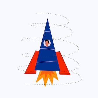 사업가가 로켓을 타고 날아간다