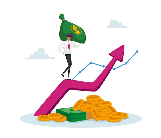 Business man in formal clothing with money sack climbing on huge growing arrow with coins