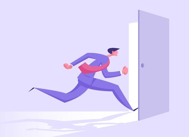 Business man in formal suit running into open door entrance illustration