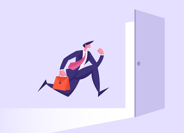 Business man in formal suit with briefcase running into open door illustration