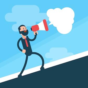 Business man go up hold megaphone speaker