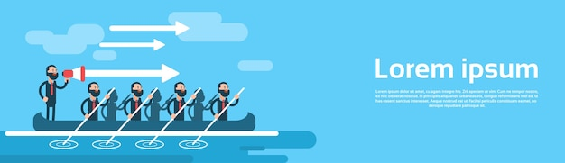 Business man group team in boat teamwork leadership concept