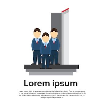 Business man group team enter open door concept