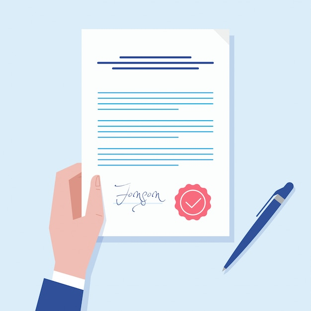 Business man hand holding contract agreement illustration