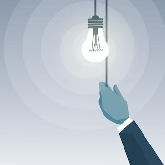 ビジネスマンハンドスイッチングライト