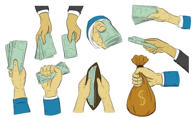 Деловая рука человека, чтобы держать деньги на белом фоне.