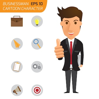 Business man happy with thumbs up