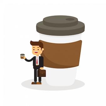 Business man has coffee break