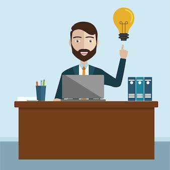 Деловой человек с идеей, инновационная идея векторной иллюстрации сотрудника