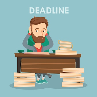 Business man having problem with deadline.