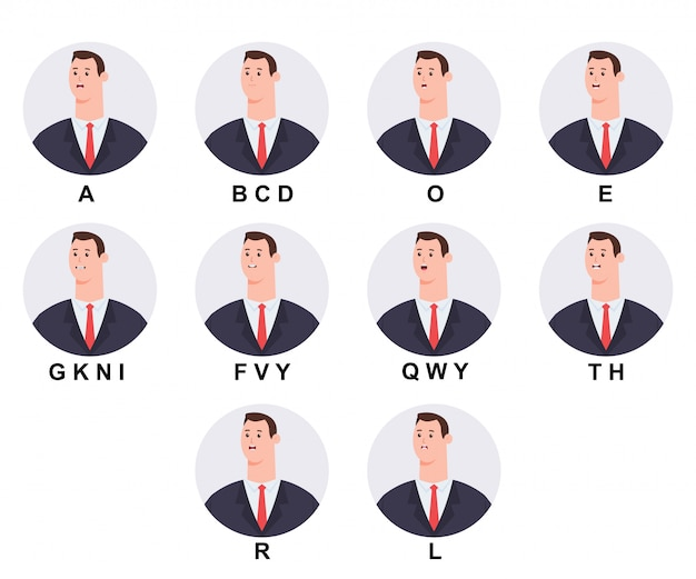 Business man head with mouth animation cartoon icons set isolated on white.