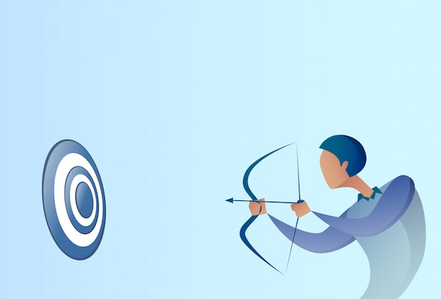 Business man hold bow aim archer get goal concept