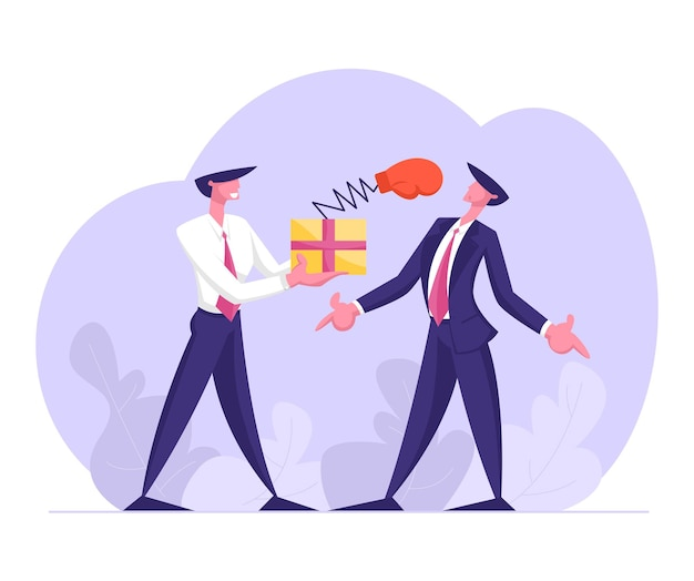 Business man hold box with pop up boxing glove on spring punch