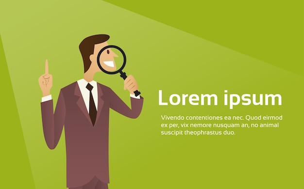 Business man hold magnifying glass search concept