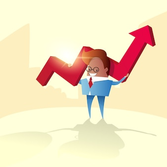 Business man hold red arrow up financial success concept