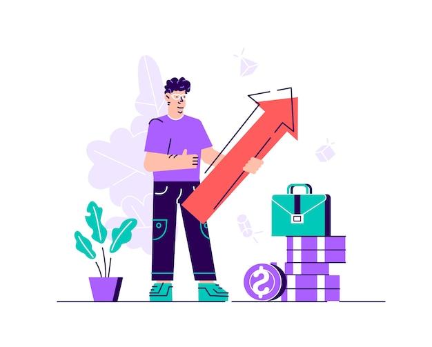 Бизнесмен держа стрелку указывая справедливо вверх показывая успех. плоская иллюстрация. плоский стиль современный дизайн иллюстрация для веб-страницы, открытки, плакат, социальные медиа.