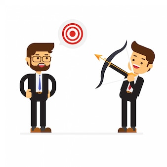 Business man holding bow look for target