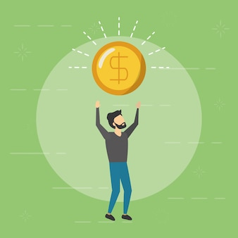 Business man holding coin, flat style
