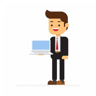 Business man holding computer tablet pc on background