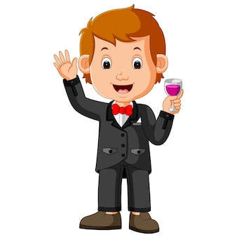 Business man holding glass