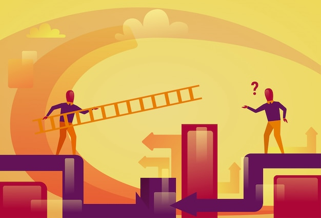Business man holding ladder help colleague business support concept