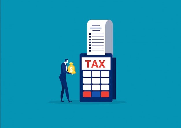 Business man holding money for pay tax end year concept vector