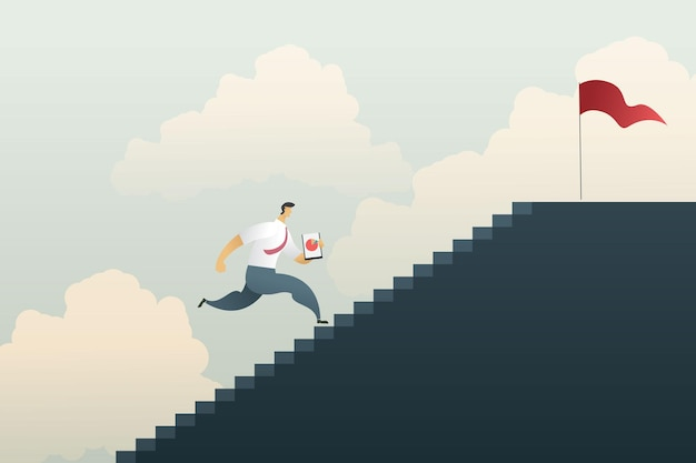 Business man holding a pie chart running up the dark gray stairs to the top with a red flag in sky
