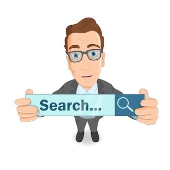 「検索...」発表のプラカードを持ったビジネスマン。