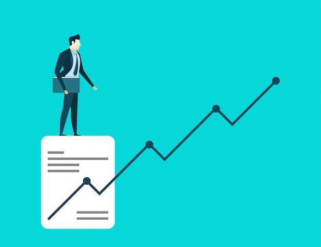 Business man illustration concept hold book of finance goals