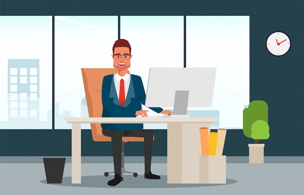 Бизнесмен в менеджере сидя на его столе и работе.