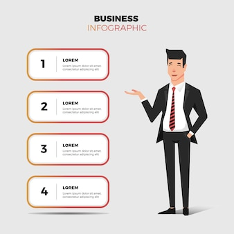 Business man and infographic