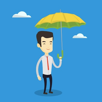 Business man insurance agent with umbrella.