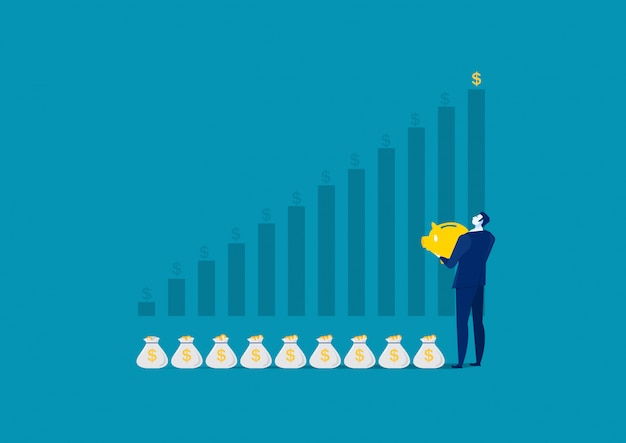 Business man investing money on moneybox money savings concept