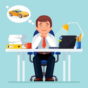 ビジネスマンはリラックスして新しい車を夢見ています。ノートパソコン、ランプ、紙、ドキュメントのある職場