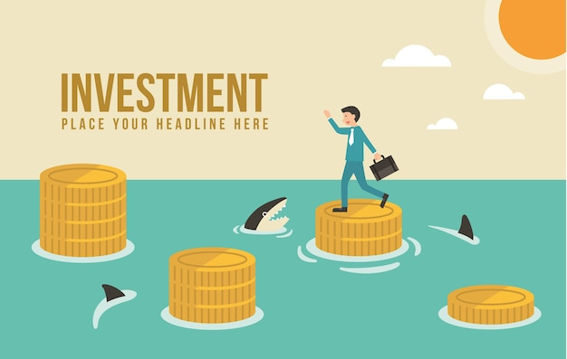 Business man jump on money stairs in ocean  . investment idea illustration.