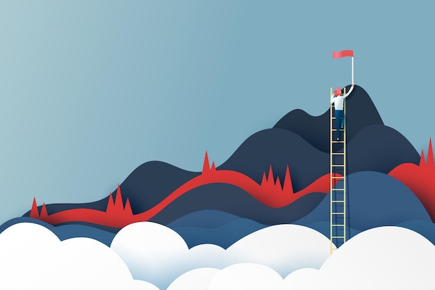 Business man on ladder reaching the red flag on the top of mountains.success goal and business concept.paper art vector illustration.