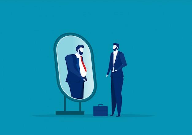 鏡を見て、太っている人として自分自身を見ているビジネスマン。自分を過小評価し、コンセプトにふりをする。
