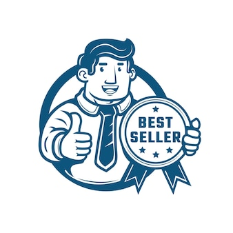 ベストセラーの金メダルを手に親指を立てるビジネスマン