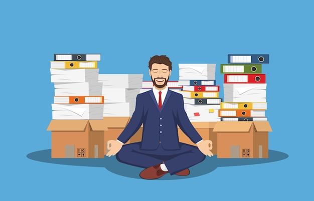 Business man meditating in lotus pose