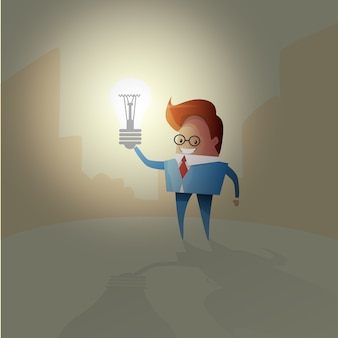 Business Man New Idea Concept Light Bulb Creative Brainstorm