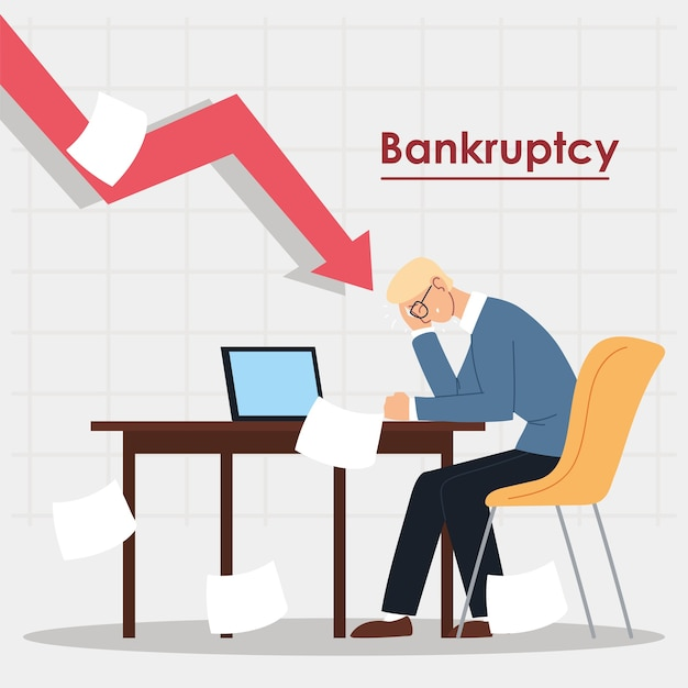 Business man in office in financial crisis, economic problem illustration design