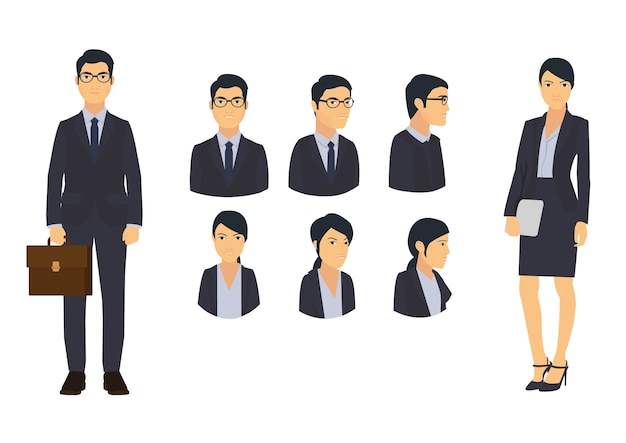 Business man and office woman icon set