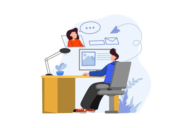 Business man online meeting with business woman
