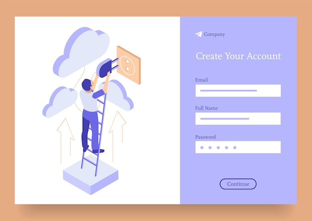 Business man plugin cloud services and storage data process isometric concept