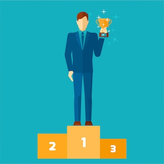 Business man on podium holding a gold cup flat vector illustration