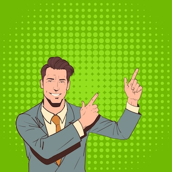 Business man point finger to copy space pop art colorful retro style